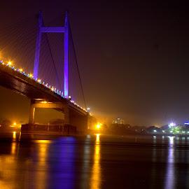 Vidyasagar Setu by Sraddheshnu Basu - City,  Street & Park  City Parks ( water, night, bridge, night shot, city )
