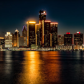Detroit Skyline by Carol Ward - City,  Street & Park  Skylines ( detroit river, michigan, skyline, night time, detroit, nightscape )
