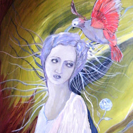 Lady with blue hair by Vesna Disich - Painting All Painting ( poetical, poetry, cbird, art vesna disich, spring )