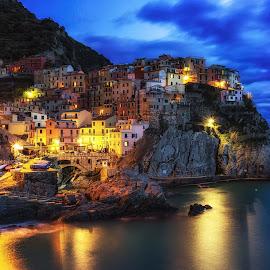 Manarola at Night by Aaron Choi - Landscapes Travel ( port, home, riviera, cinque terre, italian, europe, ocean, beach, travel, gulf of genoa, coast )
