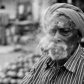 Smoker by Nanda Kumar - People Portraits of Men ( old age, monochrome, smoking, men portrait, portrait, smoke )