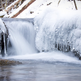 Waterfall With Ice & Snow by Joe Boyle - Landscapes Waterscapes ( water, pwcwinter, waterscape, waterfall, icicles, scenic, landscape, rushing, winter, cold, ice, snow, river )