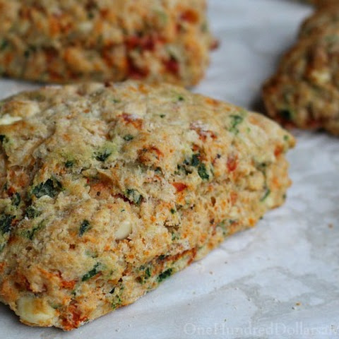 The Best Ever Tomato Feta Scones with Spinach