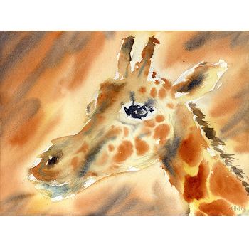 Giraffe animal art Africa painting orignal watercolour