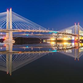 Tilikum Crossing Pano by Gary Piazza - Buildings & Architecture Bridges & Suspended Structures ( cityscapes, water, tilikum, suspension bridge, night scene, landscape, bride, panoramic, portland oregon )