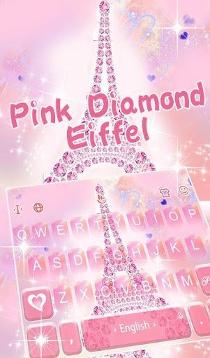 Pink Diamond Eiffel Keyboard Theme screenshot 1