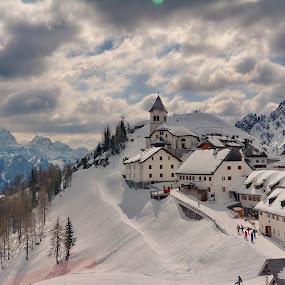 Fairytale village by Zoran Stanko - City,  Street & Park  Vistas ( monte lussari, italia, village, snow, landscape, italy, zoran stanko, alps )