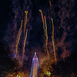 Fireworks at the Monument by Carol Ward - Public Holidays Christmas ( baltimore tradition, holiday lights, mount vernon place, christmas lights, christmas, baltimore, fireworks, holidays, monument lighting, night, george washington monument, 46th monument lighting, mount vernon )