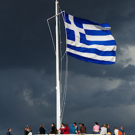 Pride of Greece by Costa Philippou - City,  Street & Park  Historic Districts ( flag, greek, greece )