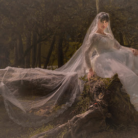 The lonely Bride by Baljit Singh - Wedding Bride ( wedding photography, wedding photographers, nature, wedding gown, wedding, brides, greenery, soul, brideal session, wedding dress, bride, lonely, best female portraiture )