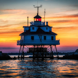 Thomas Point Light is On by Carol Ward - Buildings & Architecture Public & Historical ( annapolis, building, beautiful skies, sunset, lighthouse, maryland, chesapeake bay, architecture, light, historic )