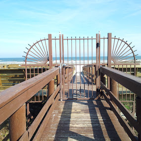 Ocean Gateway by Laurel Rowe - Instagram & Mobile Android ( water, sand, ocean, beach, boardwalk, gate )