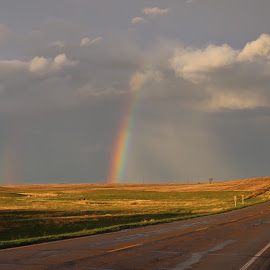 After the Storm by Laura Gardner - Novices Only Landscapes ( clouds, sky, highway, god's promise, colors, storm, spring, prairie, rainbow )