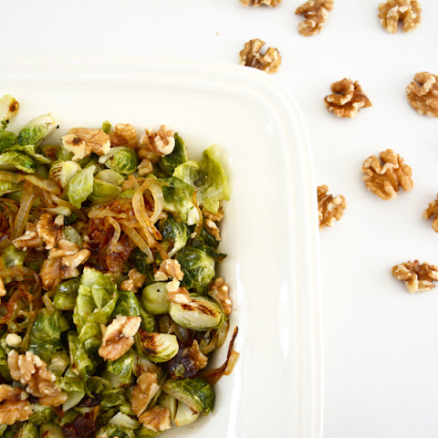 Roasted Brussels Sprouts with Caramelized Onion, Dates and Walnuts