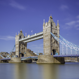 London Tower bridge by Nikolas Ananggadipa - City,  Street & Park  Street Scenes ( uk, england, blue sky, london, tower bridge, long exposure, bridge, river )