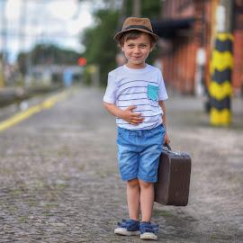 Train station by Piotr Owczarzak - Babies & Children Children Candids ( summer, mogilno, children, travel, kids, boy, poland )