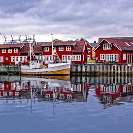 Reflected Houses by Richard Michael Lingo - Buildings & Architecture Homes ( pier, tromso, norway, homes, building )