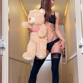 Long legs and a little bear. by Brian Sadowski - People Body Art/Tattoos ( bear, victorias secret, long legs, model, teddy bear, long hair, boudoir, portrait, stockings, lingerie, tattoos, legs, hotel, chicago, brunette, hallway, nikon )