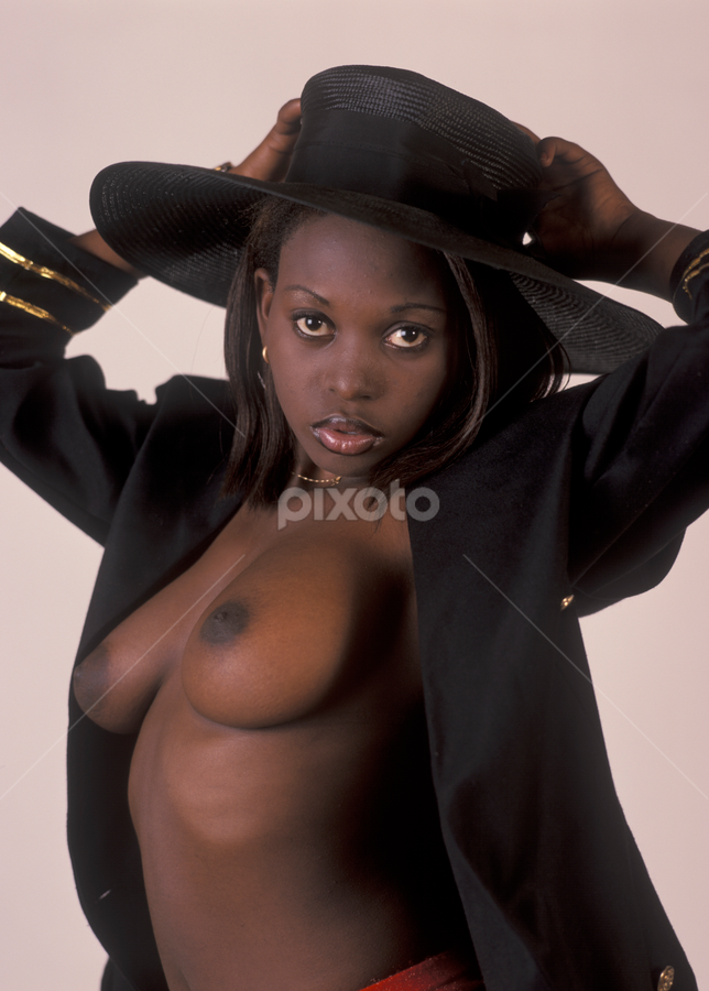 by Tony Wadham - Nudes & Boudoir Artistic Nude ( jacket, woman, breasts, big, natural, tits, black, hat )