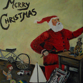 The Toy Shop by Rhonda Lee - Painting All Painting ( holiday, doll, santa, truck, art, toys, christmas, boat, painting )
