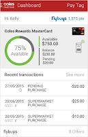 Screenshot of Coles Credit Card App