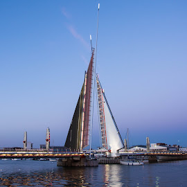 The Twin Sails Bridge. by Roy Hornyak - Buildings & Architecture Bridges & Suspended Structures ( water, crossing, structure, craft, poole, traffic, boats, harbour, sea, twin sails, coast )