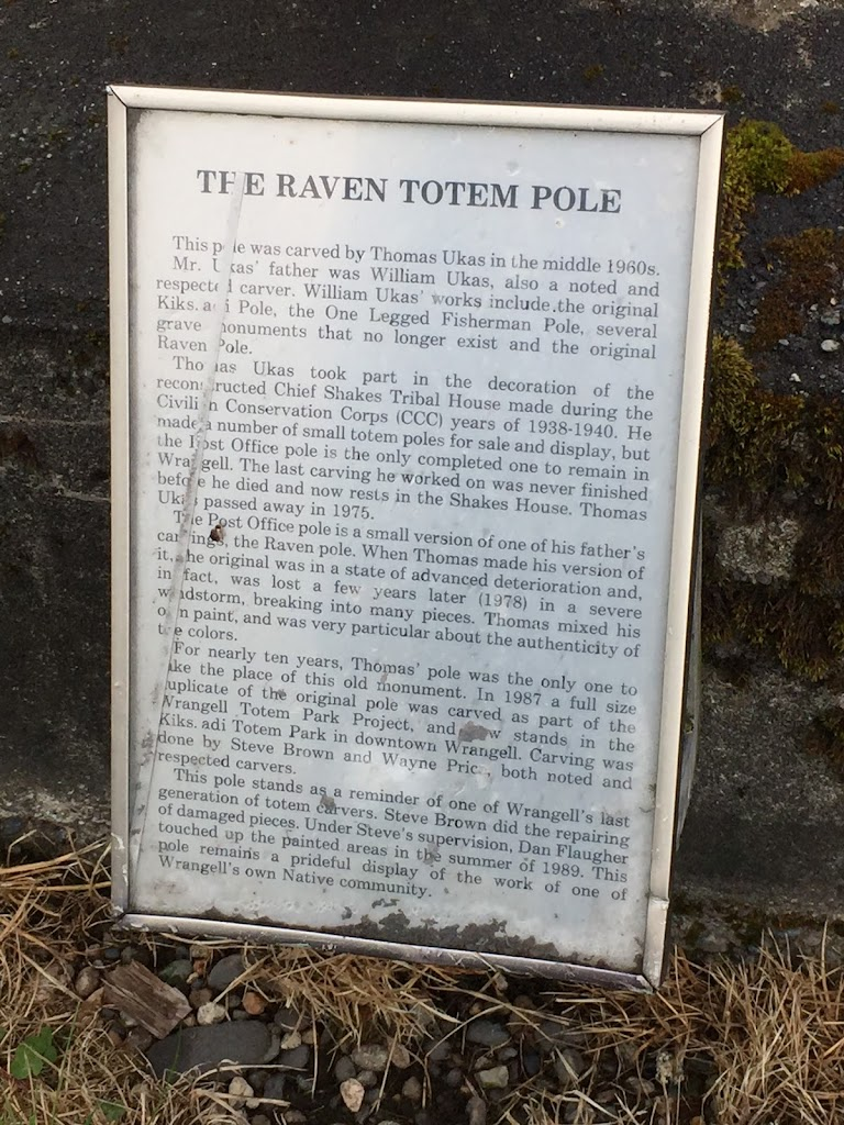 The Raven Totem PoleThis pole was carved by Thomas Ukas in the middle 1960s. Mr. Ukas' father was William Ukas, also a noted and respected carver. William Ukas' works include the original Kiks.adi ...