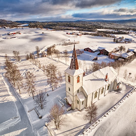 Vingelen Church by Thorbjorn Liell - Buildings & Architecture Places of Worship ( winter, drone, church, architecture, tolga, norway )