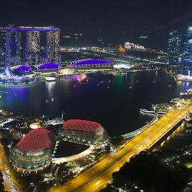 Singapore river at night. by Dennis Rathbun - City,  Street & Park  Night ( night view, river view, esplanade theaters, waterfront, singapore )