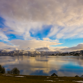 A wondweful day by Unni Lorentsen - Landscapes Cloud Formations ( clouds, mountains, sky, snow, sea, trees, boathouses, fields )