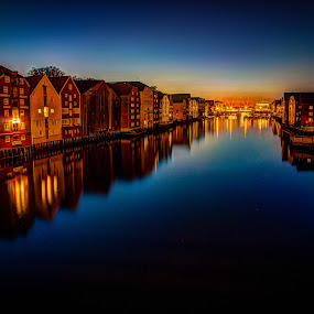 Trondheim by night by John Einar Sandvand - City,  Street & Park  Historic Districts ( nidelven, trondheim, night, historic, city, norway, river )