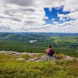 Enjoying the view by William Rogers - Landscapes Mountains & Hills ( moutain, sky, beautiful view, trail, new hampshire, mt manadnock )