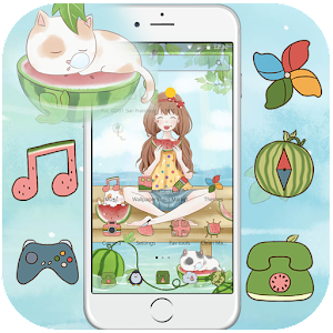 Download Cute cartoon watermelon love girl  & lock screen For PC Windows and Mac