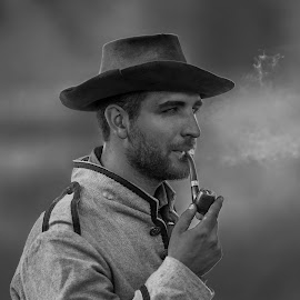 Rebel Soldier by Kevin Esterline - Black & White Portraits & People ( civil war, rebel, pipe, confederate, military,  )