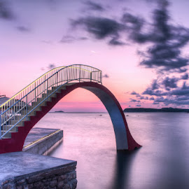 by Miho Kulušić - Landscapes Waterscapes ( waterscape, toboggan, sunset, sea, seascape )