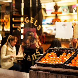 Oranges by Marta Krawczyk - City,  Street & Park  Street Scenes ( orange, tilburg, cafe )