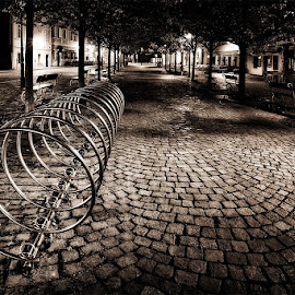 New in Old by Tomáš Culka - City,  Street & Park  Night ( lights, lamp, trees, night, square, prague, city )