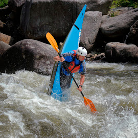 Bottoms Up by Rich Reynolds - Sports & Fitness Watersports ( olympic, blue, boat, kayak, whitewater )