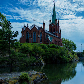 Trollhattans Church by Nicklas Sjoberg - Buildings & Architecture Places of Worship ( clouds, water, sky, church, blue, landscape, city )