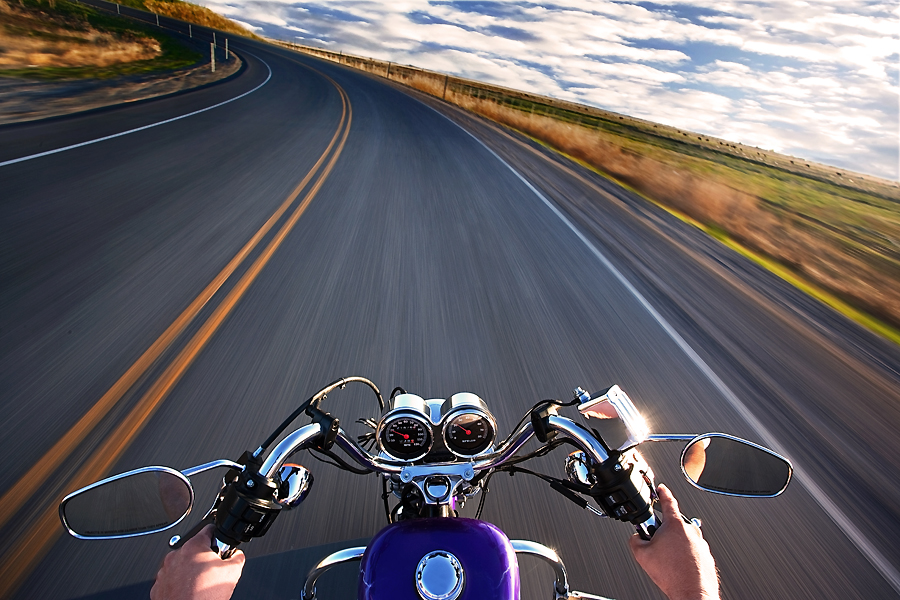 Around the bend by Doug Sims - Transportation Motorcycles ( harley, driving, motorcycle )
