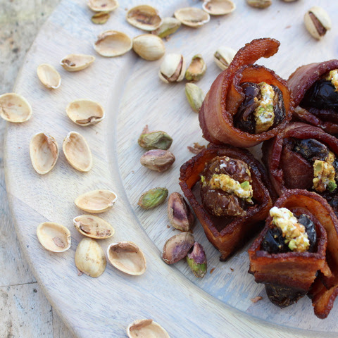Bacon Wrapped Dates with Goat Cheese and Pistachios