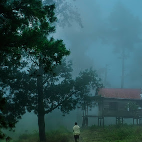 Walk Alone by Amril Nuryan - People Street & Candids ( haze, village, pathway, fog, path, forest, people )