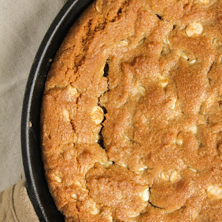 Peanut Butter White Chocolate Chip Skillet Cookie