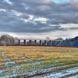 Annbank Viaduct by Stephen Crawford - Buildings & Architecture Bridges & Suspended Structures ( clouds, winter, viaduct, snow, fileds, annbank,  )