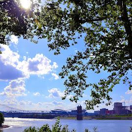 Let the Light In by Robin Stover - City,  Street & Park  Skylines ( clouds, cincinnati, bridge, sun, river )