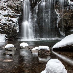 Snowy Falls by Aaron Rigsby - Landscapes Waterscapes ( snow, waterfall, trees )