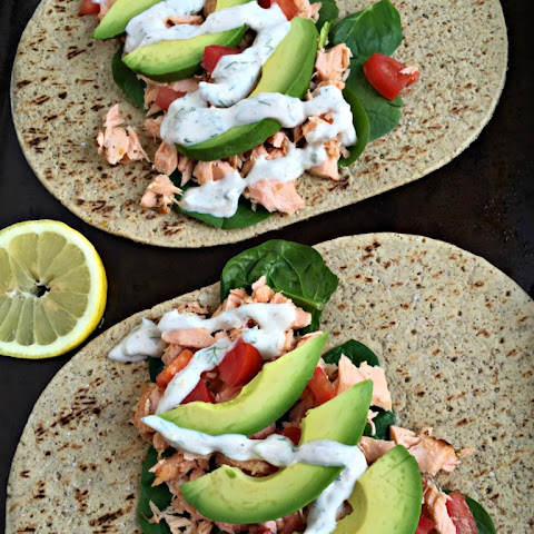 Honey Lemon Salmon Wraps (with garlic Greek yogurt sauce)