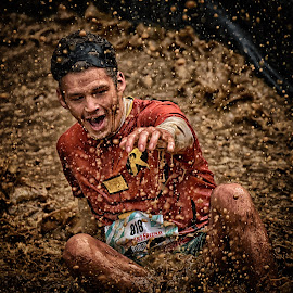 Help Me Batman ! by Marco Bertamé - Sports & Fitness Other Sports ( water, splatter, splash, differdange, 2015, 818, number, waterdrops, soup, luxembourg, robin, red, sitting, mud, strong, drops, dirty, batman, brown, strongmanrun, man )