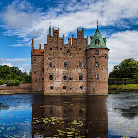 Egeskov Castle (Denmark) by Gianluca Presto - Buildings & Architecture Public & Historical ( clouds, water reflection, reflection, park, egeskov, historic castle, lake, historic, tower, sky, ancient, towers, castle, denmark, homes, medieval )