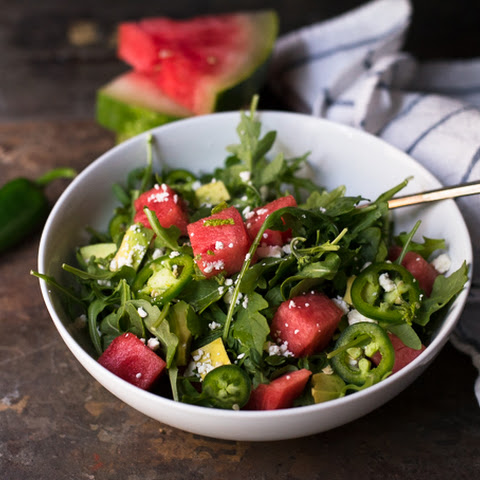 Watermelon Salad with Jalapeno and Avocado!